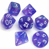 Purple & White Borealis Polyhedral 7 Dice Set